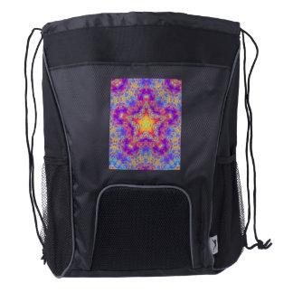 Warm Glow Star Bright Color Swirl Kaleidoscope Art Drawstring Backpack