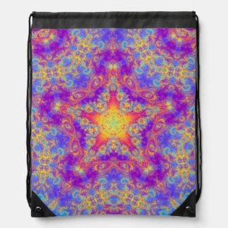 Warm Glow Star Bright Color Swirl Kaleidoscope Art Drawstring Bag
