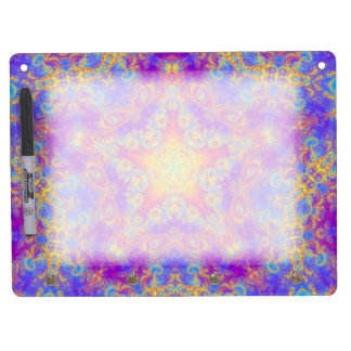 Warm Glow Star Bright Color Swirl Kaleidoscope Art Dry Erase Board With Keychain Holder