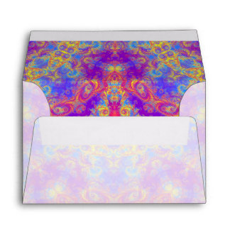 Warm Glow Star Bright Color Swirl Kaleidoscope Art Envelope