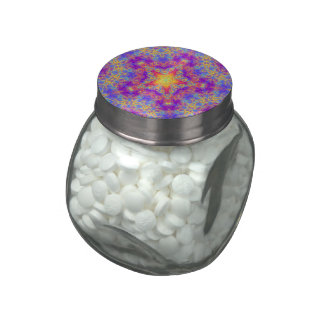Warm Glow Star Bright Color Swirl Kaleidoscope Art Glass Candy Jars