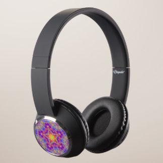 Warm Glow Star Bright Color Swirl Kaleidoscope Art Headphones