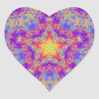 Warm Glow Star Bright Color Swirl Kaleidoscope Art Heart Sticker