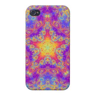Warm Glow Star Bright Color Swirl Kaleidoscope Art iPhone 4 Cases