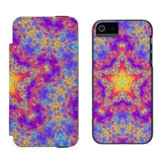 Warm Glow Star Bright Color Swirl Kaleidoscope Art iPhone SE/5/5s Wallet Case