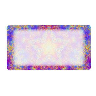 Warm Glow Star Bright Color Swirl Kaleidoscope Art Label
