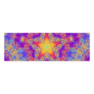 Warm Glow Star Bright Color Swirl Kaleidoscope Art Mini Business Card