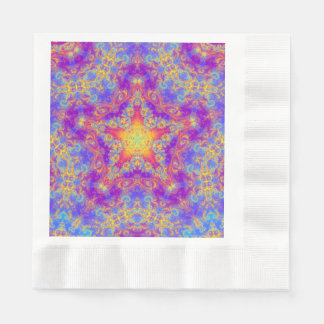 Warm Glow Star Bright Color Swirl Kaleidoscope Art Coined Luncheon Napkin