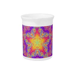 Warm Glow Star Bright Color Swirl Kaleidoscope Art Drink Pitcher