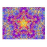 Warm Glow Star Bright Color Swirl Kaleidoscope Art Postcard