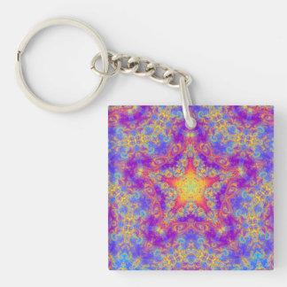 Warm Glow Star Bright Color Swirl Kaleidoscope Art Single-Sided Square Acrylic Keychain