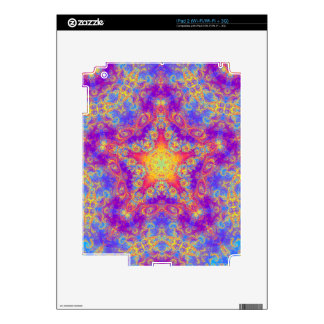 Warm Glow Star Bright Color Swirl Kaleidoscope Art Skins For The iPad 2