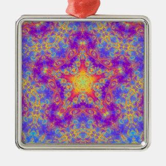 Warm Glow Star Bright Color Swirl Kaleidoscope Art Square Metal Christmas Ornament