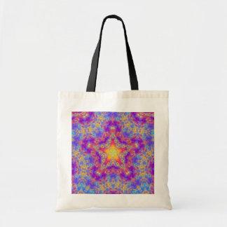 Warm Glow Star Bright Color Swirl Kaleidoscope Art Tote Bag