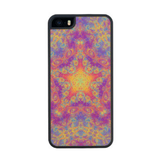 Warm Glow Star Bright Color Swirl Kaleidoscope Art Wood iPhone SE/5/5s Case