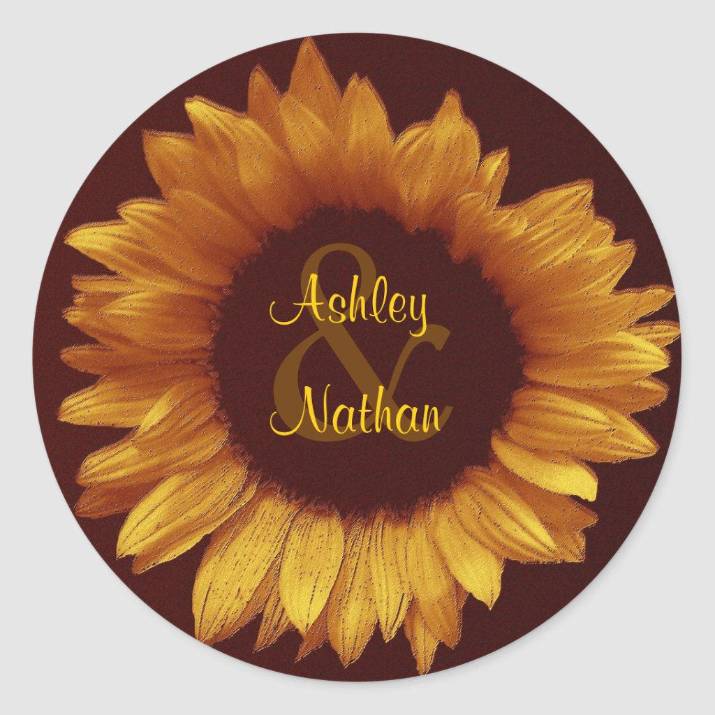 Warm Gold and Chocolate Sunflower Wedding Sticker