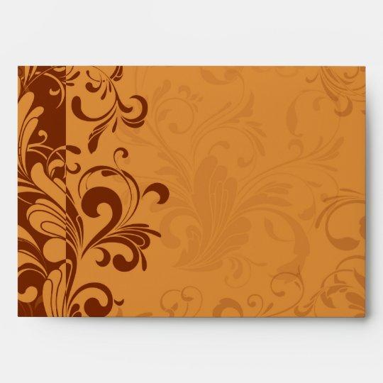 Warm Golden Autumn Swirl Envelope