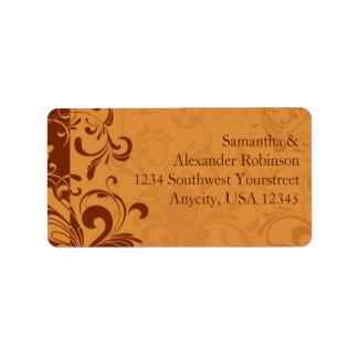 Warm Golden Autumn Swirl Address Label
