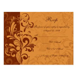 Warm Golden Autumn Swirl RSVP Reply Postcard