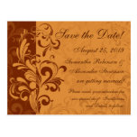 Warm Golden Autumn Swirl Save the Date Post Cards