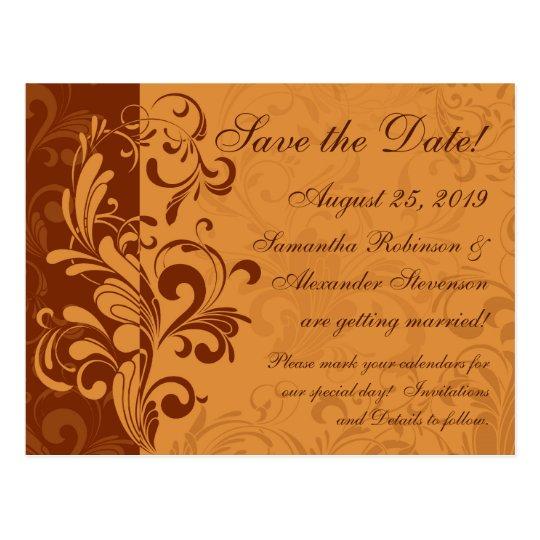 Warm Golden Autumn Swirl Save the Date Postcard