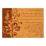 Warm Golden Autumn Swirl Wedding Invitations
