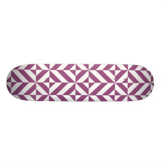 Warm Grape Geometric Deco Cube Pattern Skateboard Deck