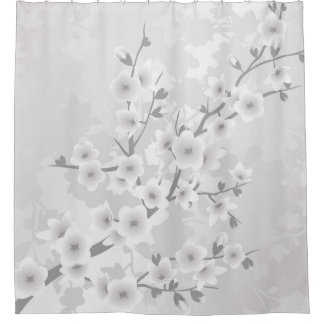 Warm Gray Cherry Blossoms Classic Shower Curtain