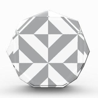 Warm Gray Geometric Deco Cube Pattern Acrylic Award