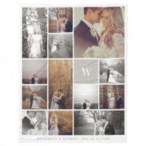 Warm Grey Modern Monogram Minimalist Photo Collage Fleece Blanket