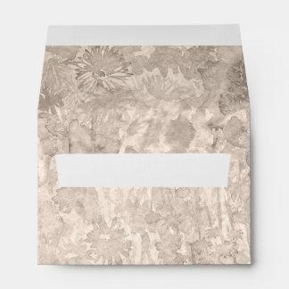 Warm grey watercolor splash with flowers envelope