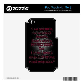 WARM HEART FOR THOSE WHO CARE LOVE MOTIVATIONAL CH SKIN FOR iPod TOUCH 4G