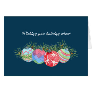 Warm Holiday Cheer Design Blue Christmas Greeting Card