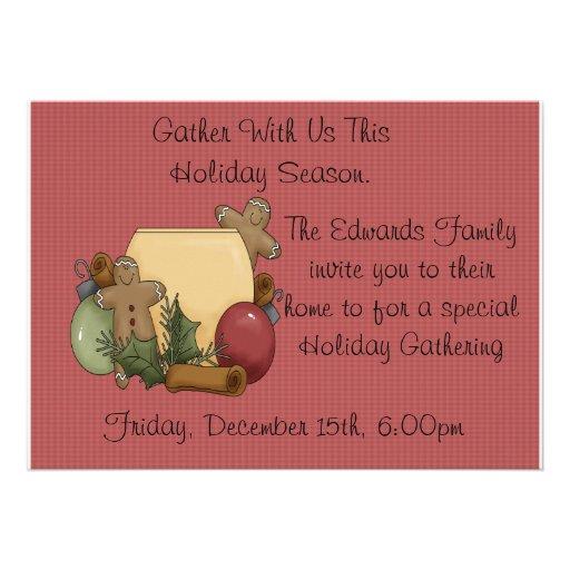 warm holiday gathering invites
