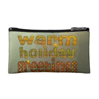 Warm holiday greetings makeup bag