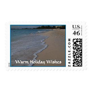 Warm Holiday Greetings Ocean Waves on Beach Postage