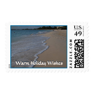 Warm Holiday Greetings Ocean Waves on Beach Stamp