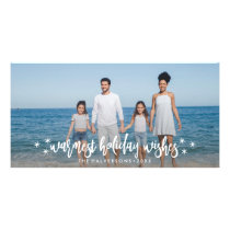 Warm Holiday Wishes Christmas or New Years Photo Card