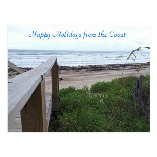 Warm holiday wishes from the beach postcard