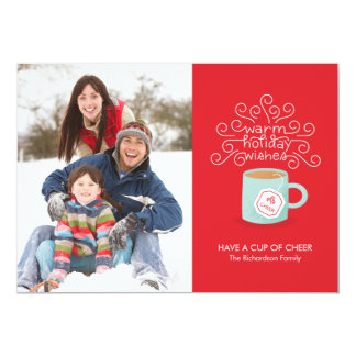 Warm Holiday Wishes Holiday Photo Card