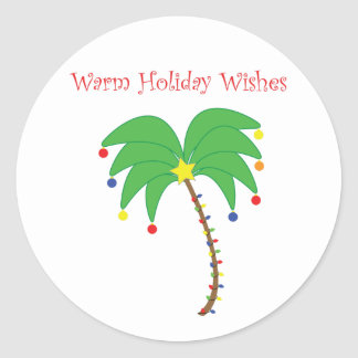 """""""Warm Holiday Wishes"""" Palm Tree stickers"""