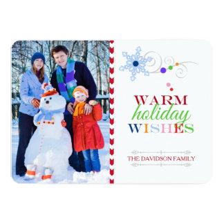 Warm Holiday Wishes Photo Christmas Flat Card
