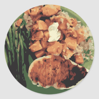 Warm Homemade Potatoes and Green Beans Classic Round Sticker