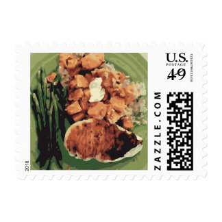 Warm Homemade Potatoes and Green Beans Stamps