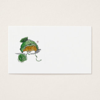Warm Knit Hat and Tiger Kitten Business Card