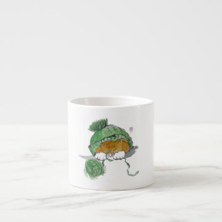 Warm Knit Hat and Tiger Kitten Espresso Cup