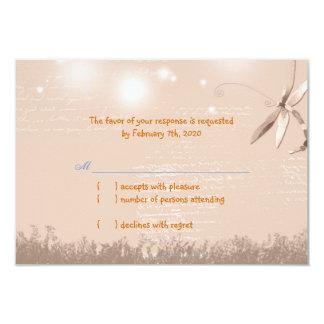 Warm Light Brown Dragonfly Wedding RSVP Card
