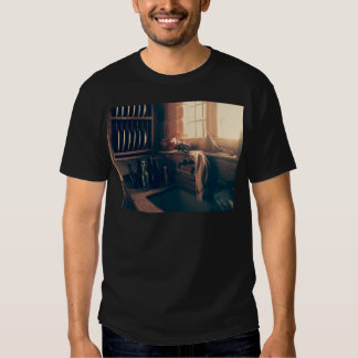 Warm light in a rustic kitchen t-shirt