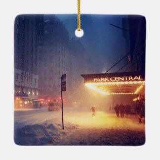 Warm Lights On A Cold Night Ceramic Ornament