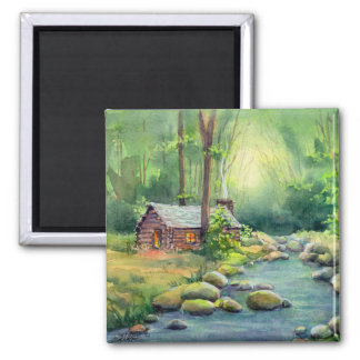 WARM LOG CABIN by SHARON SHARPE 2 Inch Square Magnet